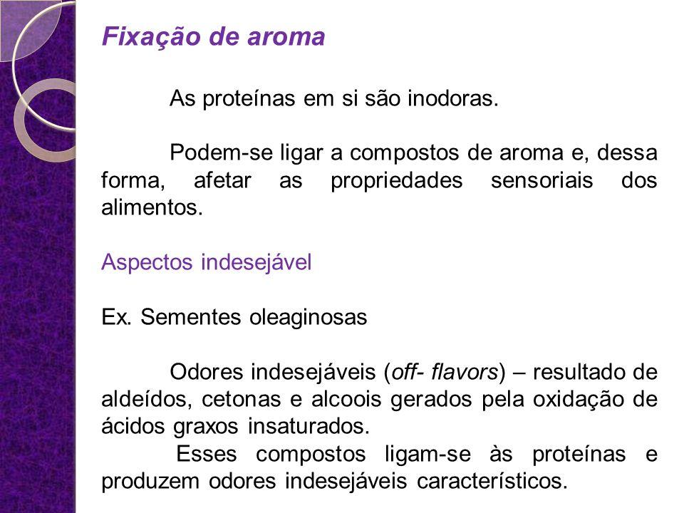 Fixação de aroma As proteínas em si são inodoras.