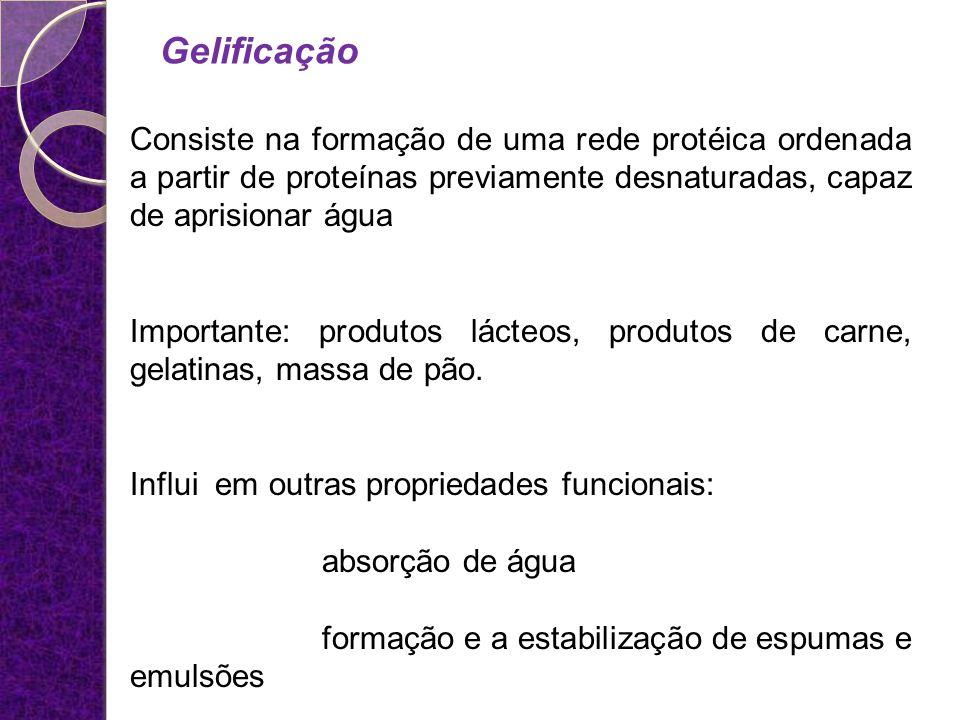 Gelificação Consiste na formação de uma rede protéica ordenada a partir de proteínas previamente desnaturadas, capaz de aprisionar água.