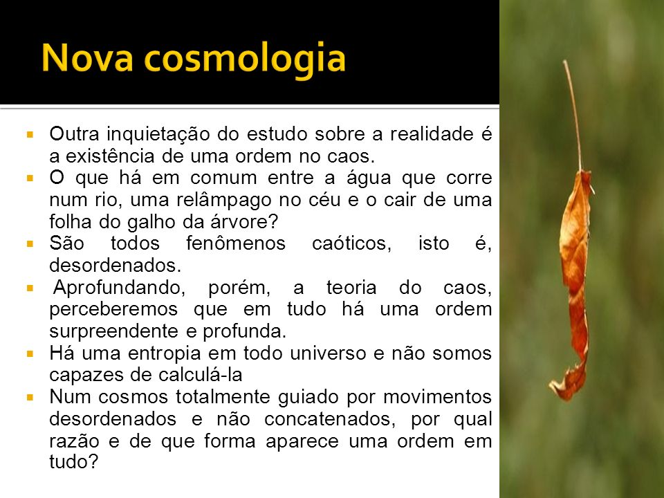 Nova cosmologia Outra inquietação do estudo sobre a realidade é a existência de uma ordem no caos.