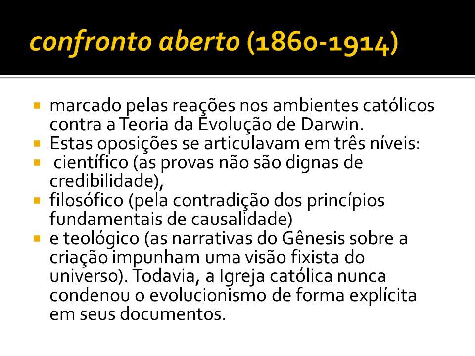 confronto aberto (1860-1914) marcado pelas reações nos ambientes católicos contra a Teoria da Evolução de Darwin.