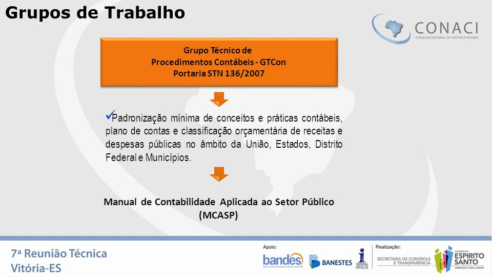 Grupos de Trabalho Grupo Técnico de. Procedimentos Contábeis - GTCon. Portaria STN 136/2007.