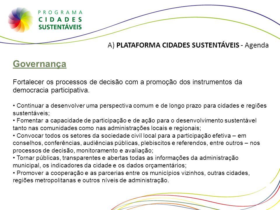 Governança A) PLATAFORMA CIDADES SUSTENTÁVEIS - Agenda