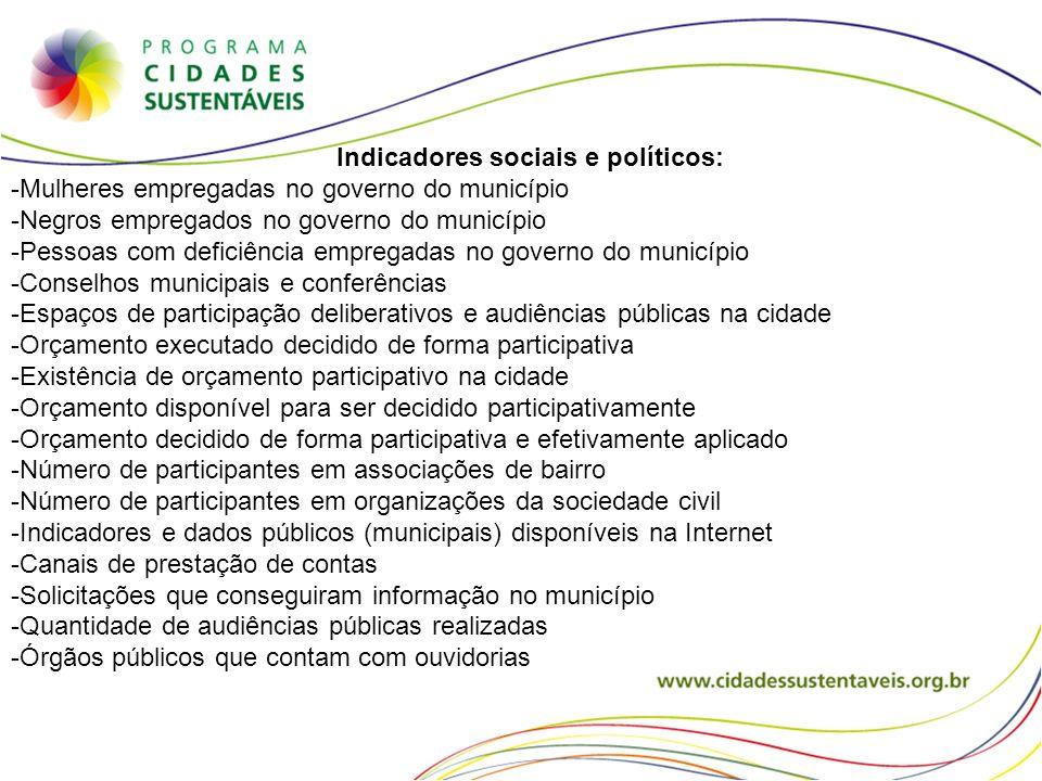 Indicadores sociais e políticos: