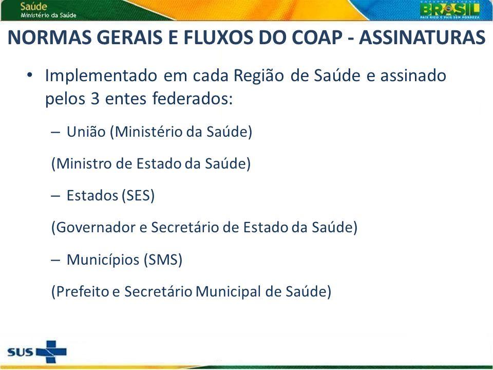 NORMAS GERAIS E FLUXOS DO COAP - ASSINATURAS