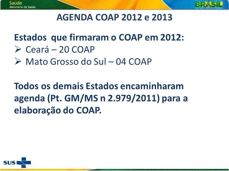 AGENDA COAP 2012 e 2013 Estados que firmaram o COAP em 2012: Ceará – 20 COAP. Mato Grosso do Sul – 04 COAP.