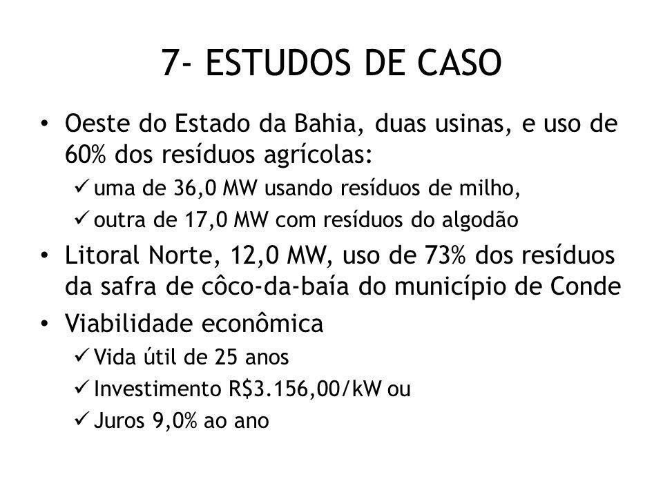 7- ESTUDOS DE CASO Oeste do Estado da Bahia, duas usinas, e uso de 60% dos resíduos agrícolas: uma de 36,0 MW usando resíduos de milho,