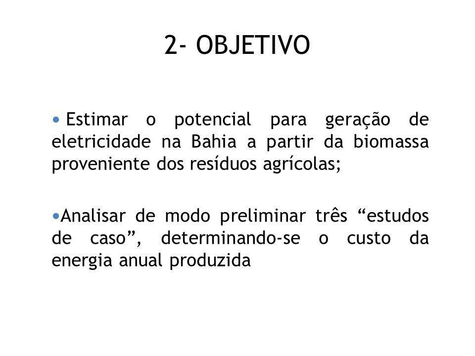 2- OBJETIVO Estimar o potencial para geração de eletricidade na Bahia a partir da biomassa proveniente dos resíduos agrícolas;