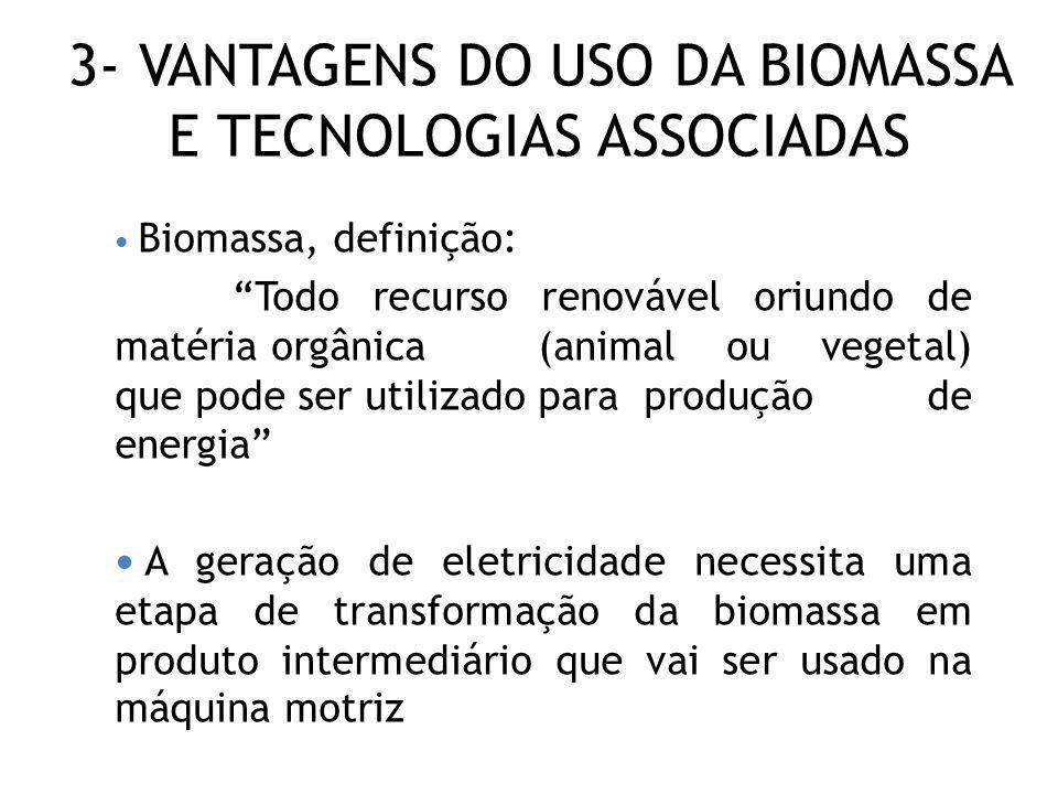 3- VANTAGENS DO USO DA BIOMASSA E TECNOLOGIAS ASSOCIADAS