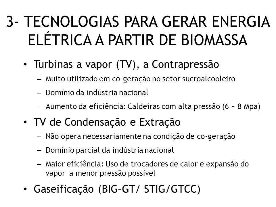 3- TECNOLOGIAS PARA GERAR ENERGIA ELÉTRICA A PARTIR DE BIOMASSA