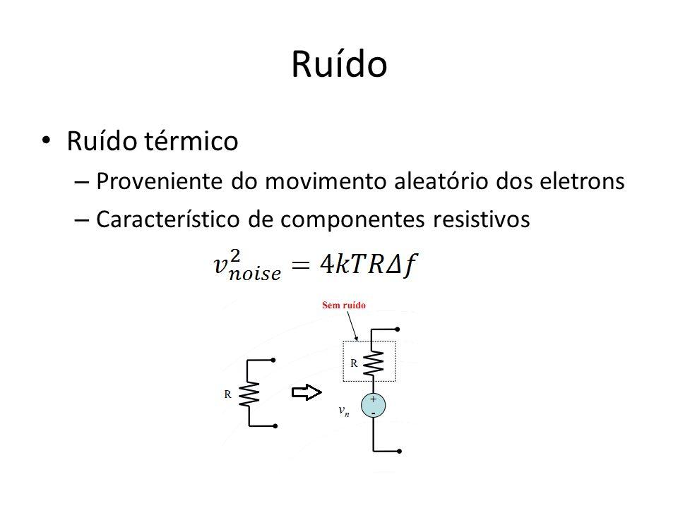 Ruído Ruído térmico Proveniente do movimento aleatório dos eletrons