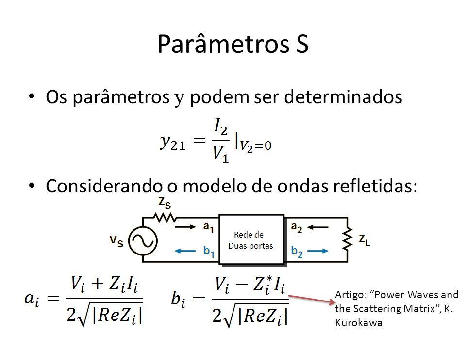 Parâmetros S Os parâmetros y podem ser determinados