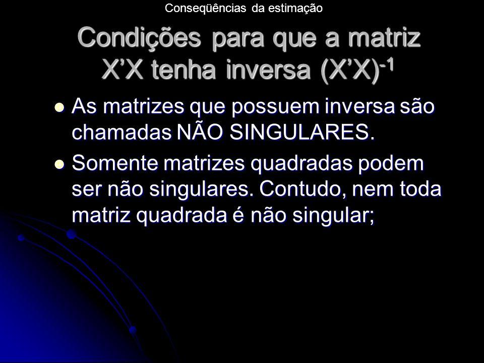 Condições para que a matriz X'X tenha inversa (X'X)-1