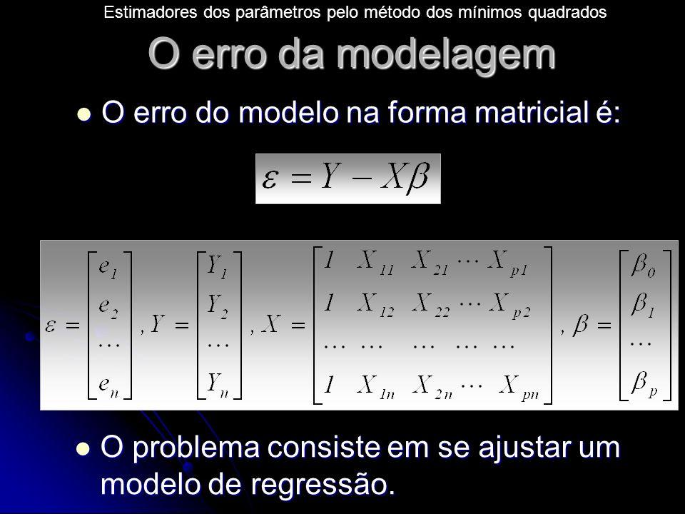 Estimadores dos parâmetros pelo método dos mínimos quadrados