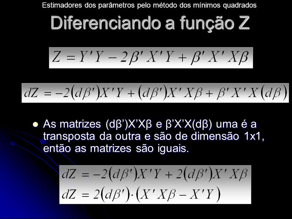 Diferenciando a função Z