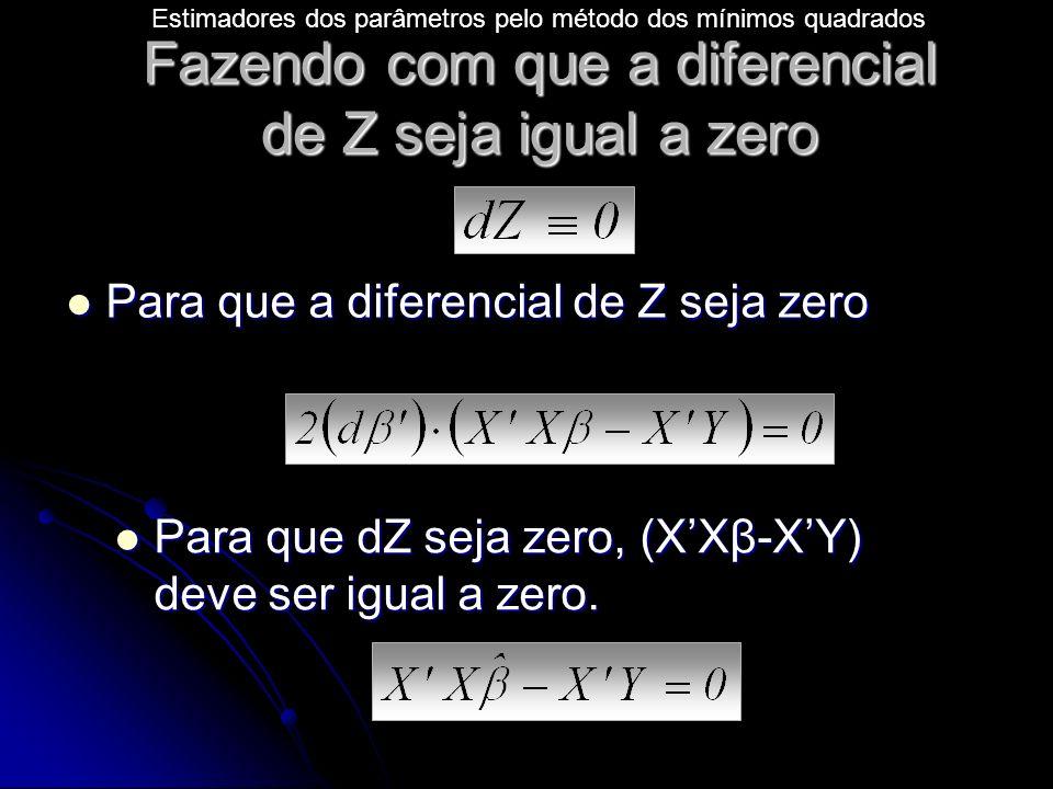 Fazendo com que a diferencial de Z seja igual a zero