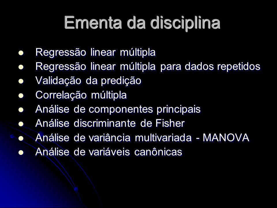 Ementa da disciplina Regressão linear múltipla