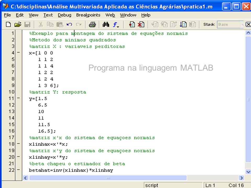 Programa na linguagem MATLAB