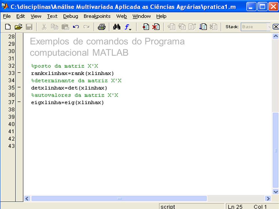 Exemplos de comandos do Programa computacional MATLAB