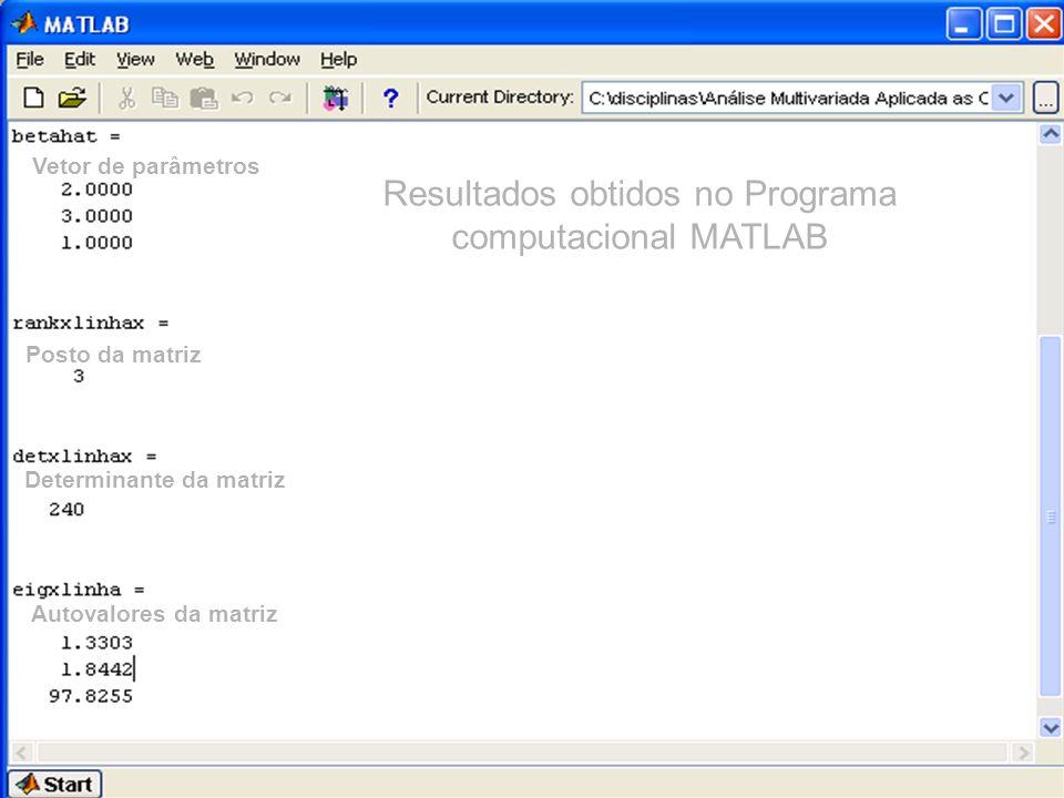Resultados obtidos no Programa computacional MATLAB