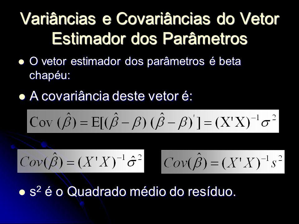 Variâncias e Covariâncias do Vetor Estimador dos Parâmetros