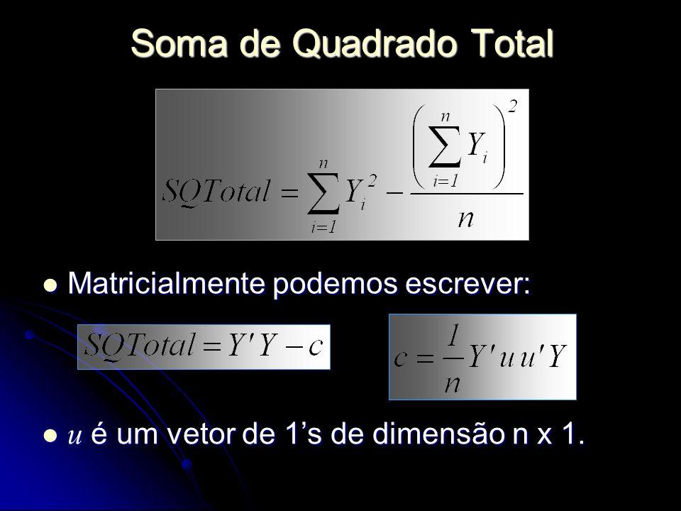 Soma de Quadrado Total Matricialmente podemos escrever: