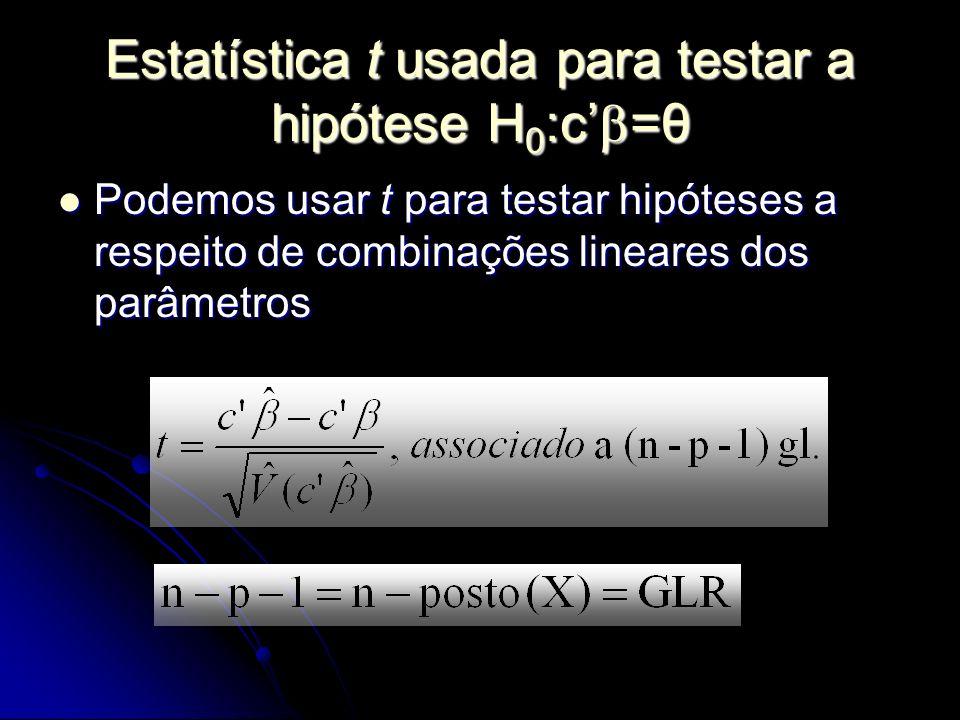 Estatística t usada para testar a hipótese H0:c'=θ