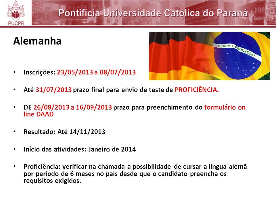 Alemanha Inscrições: 23/05/2013 a 08/07/2013