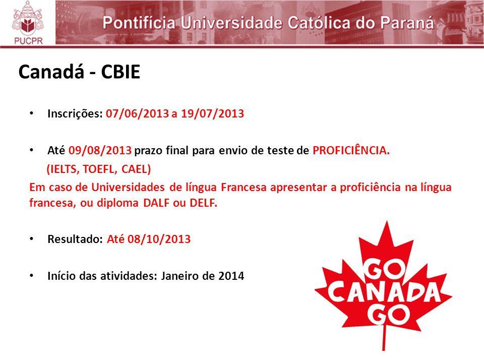 Canadá - CBIE Inscrições: 07/06/2013 a 19/07/2013