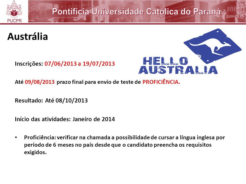 Austrália Inscrições: 07/06/2013 a 19/07/2013
