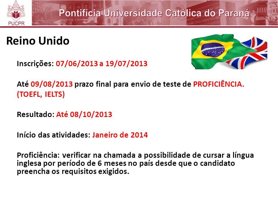 Reino Unido Inscrições: 07/06/2013 a 19/07/2013