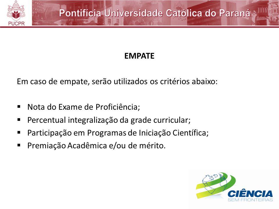 EMPATE Em caso de empate, serão utilizados os critérios abaixo: Nota do Exame de Proficiência; Percentual integralização da grade curricular;