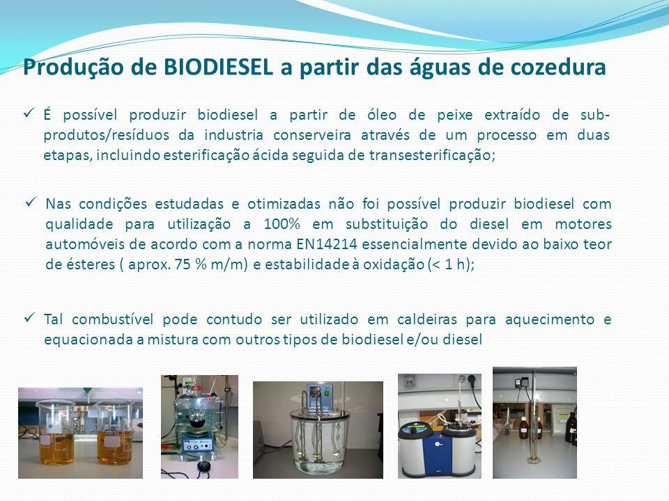 Produção de BIODIESEL a partir das águas de cozedura