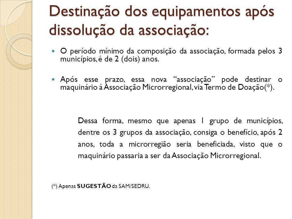 Destinação dos equipamentos após dissolução da associação: