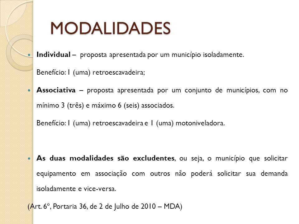 MODALIDADES Individual – proposta apresentada por um município isoladamente. Benefício: 1 (uma) retroescavadeira;
