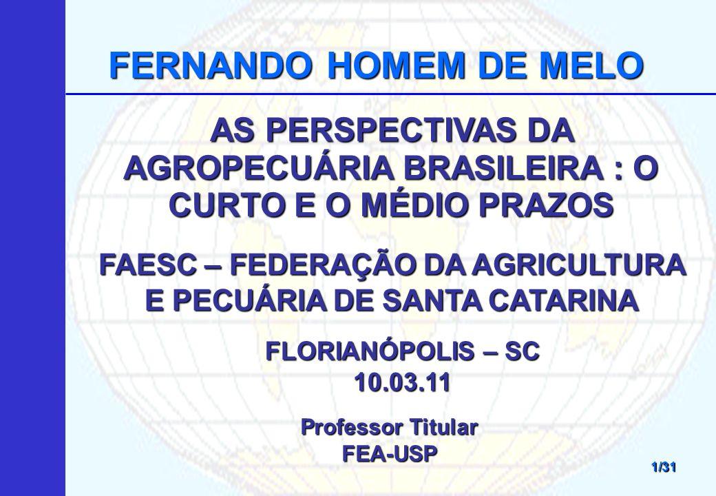FERNANDO HOMEM DE MELO AS PERSPECTIVAS DA AGROPECUÁRIA BRASILEIRA : O CURTO E O MÉDIO PRAZOS.