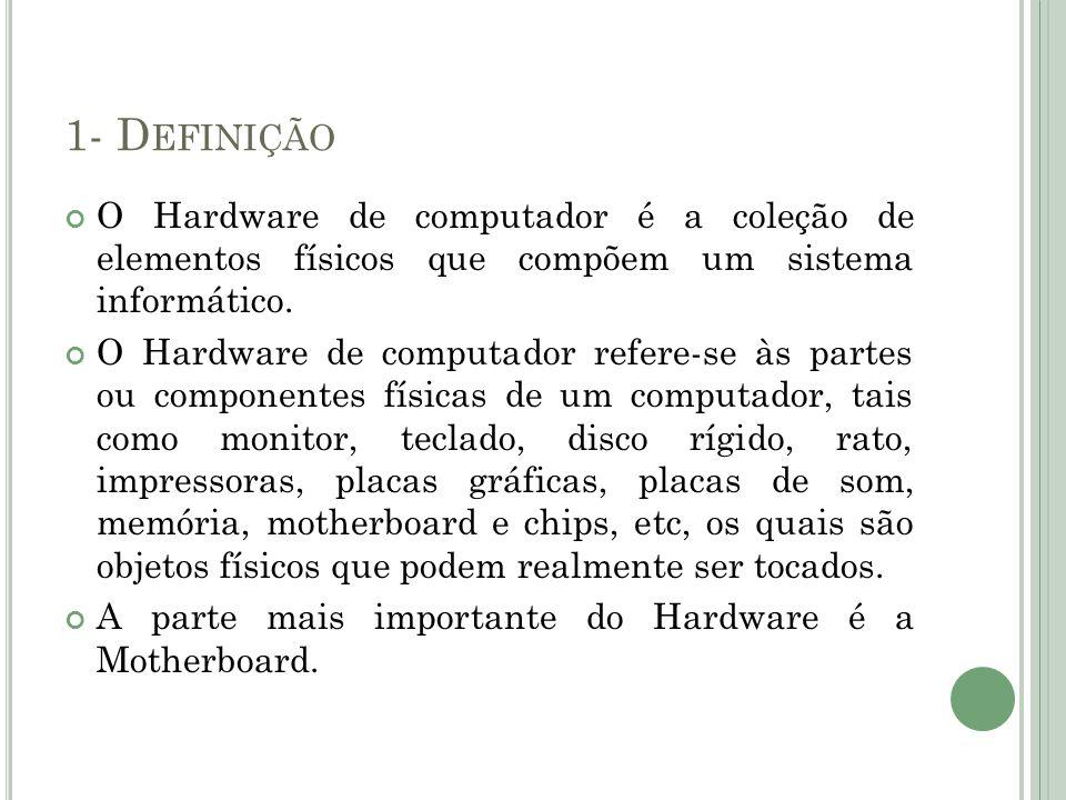 1- Definição O Hardware de computador é a coleção de elementos físicos que compõem um sistema informático.
