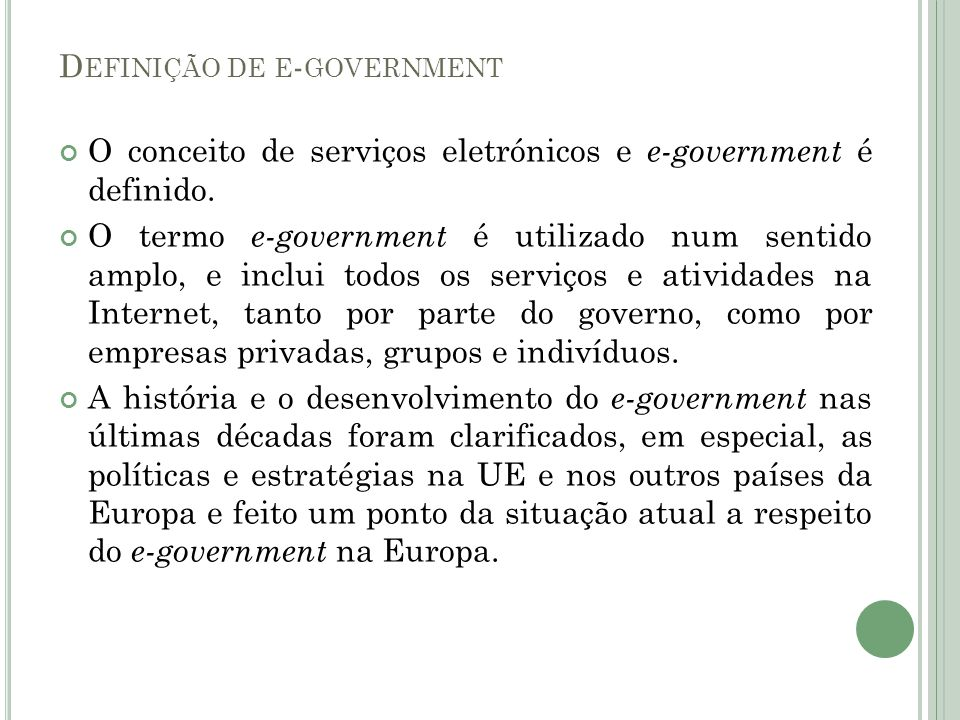 Definição de e-government