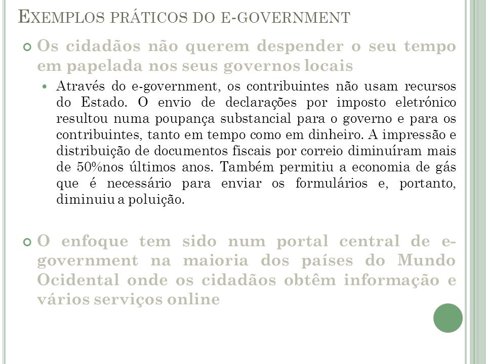 Exemplos práticos do e-government