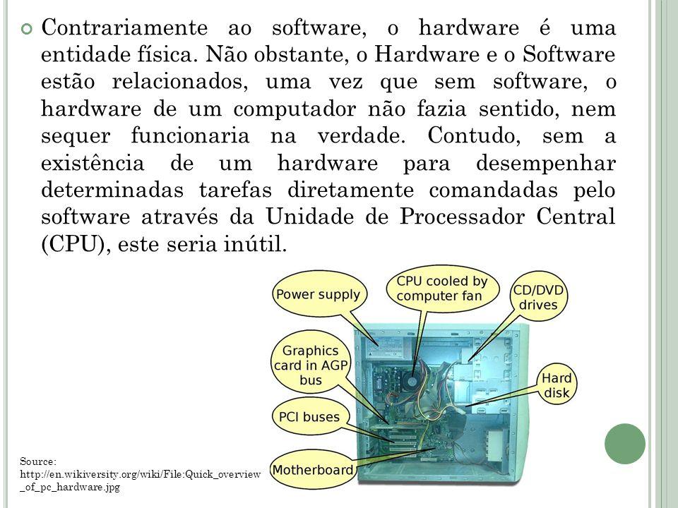 Contrariamente ao software, o hardware é uma entidade física