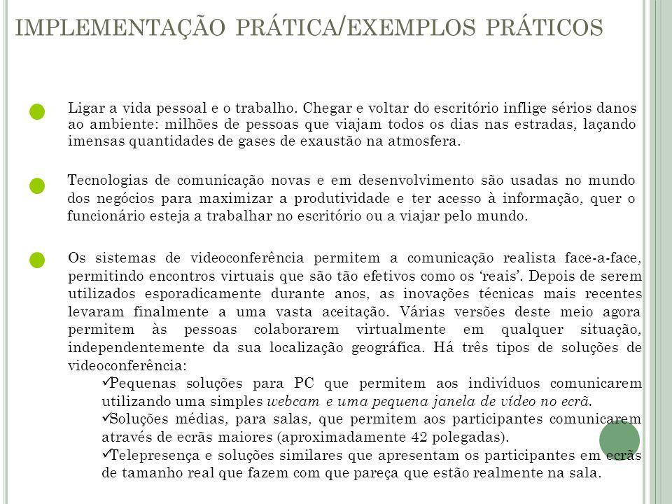 implementação prática/exemplos práticos