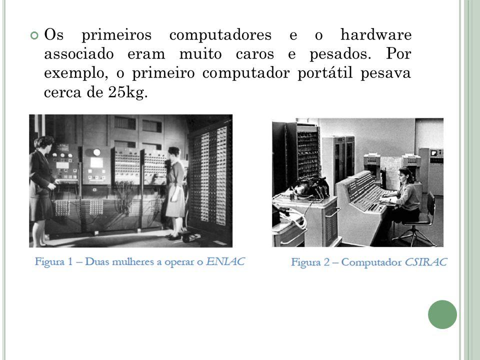Os primeiros computadores e o hardware associado eram muito caros e pesados.