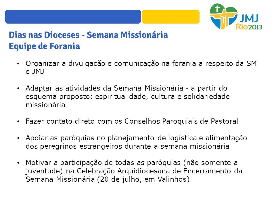 Dias nas Dioceses - Semana Missionária Equipe de Forania