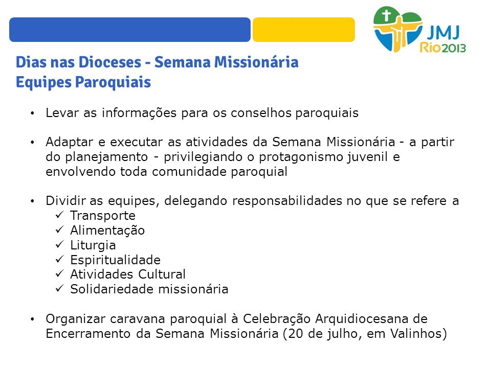 Dias nas Dioceses - Semana Missionária Equipes Paroquiais