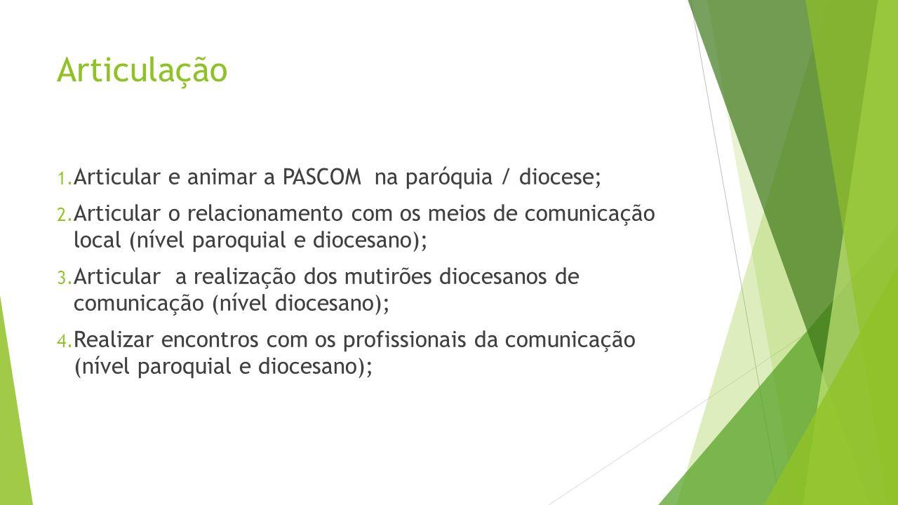 Articulação Articular e animar a PASCOM na paróquia / diocese;