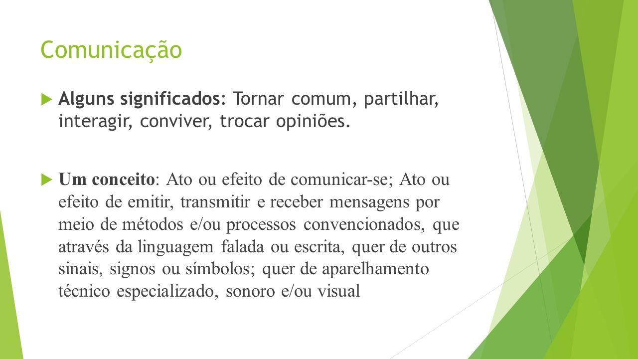 Comunicação Alguns significados: Tornar comum, partilhar, interagir, conviver, trocar opiniões.
