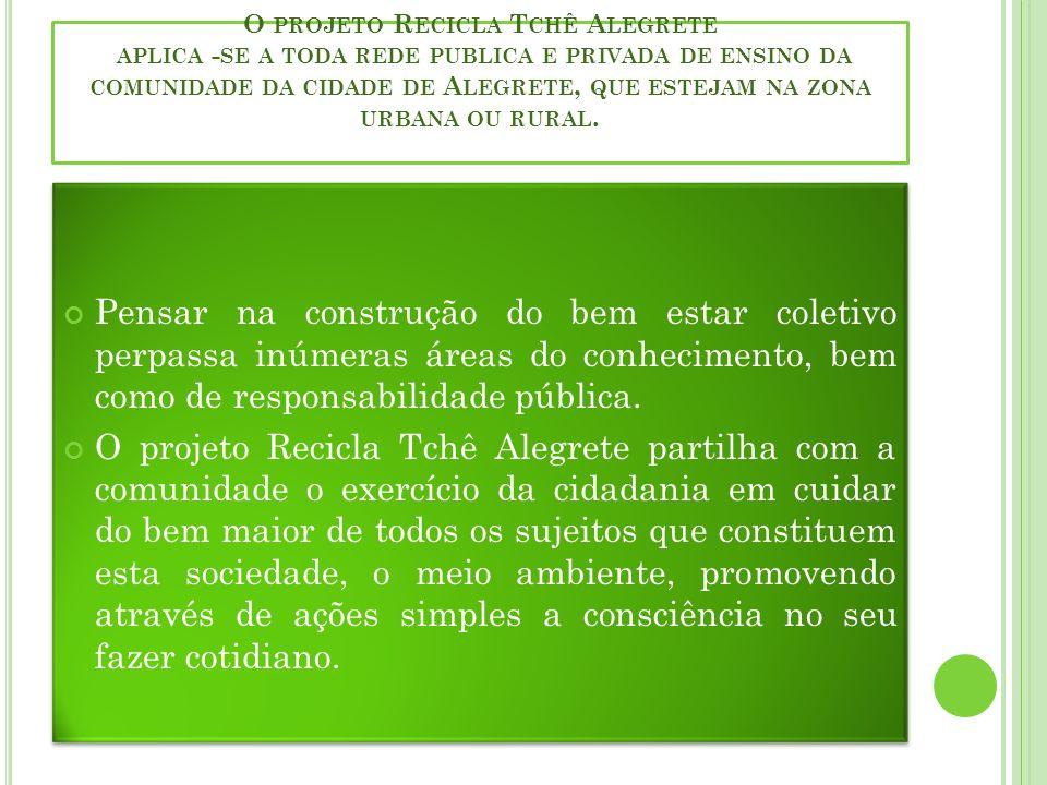 O projeto Recicla Tchê Alegrete aplica -se a toda rede publica e privada de ensino da comunidade da cidade de Alegrete, que estejam na zona urbana ou rural.