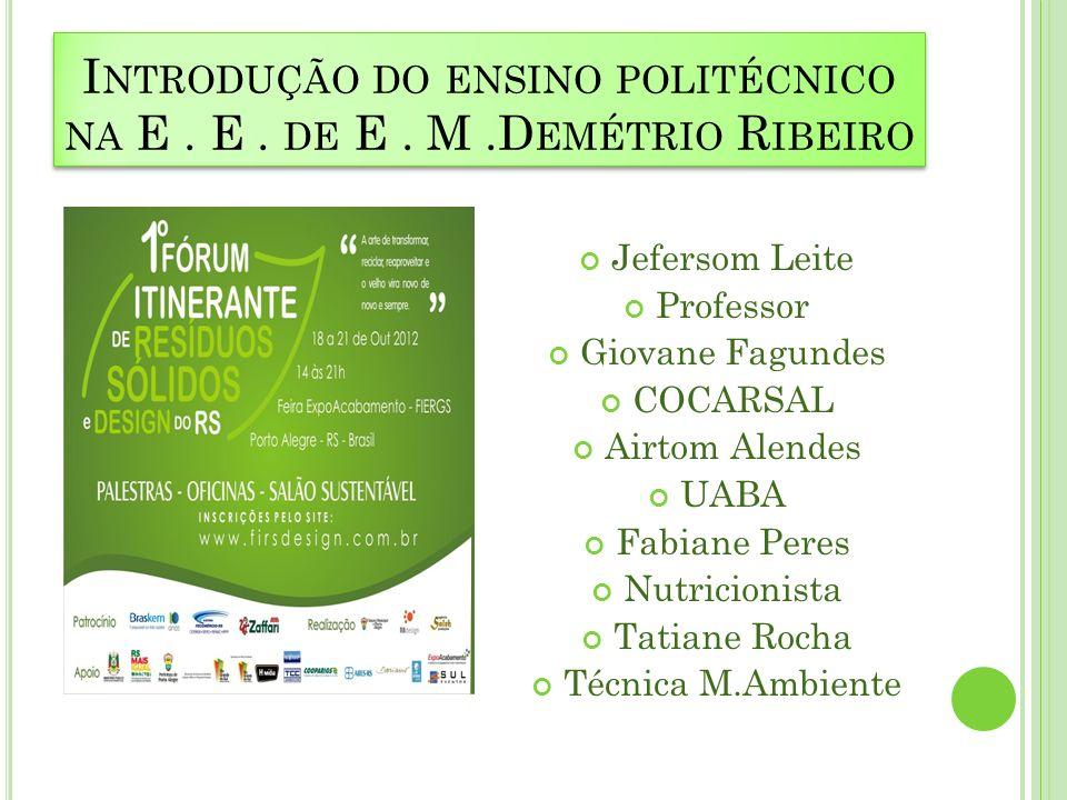 Introdução do ensino politécnico na E . E . de E . M .Demétrio Ribeiro