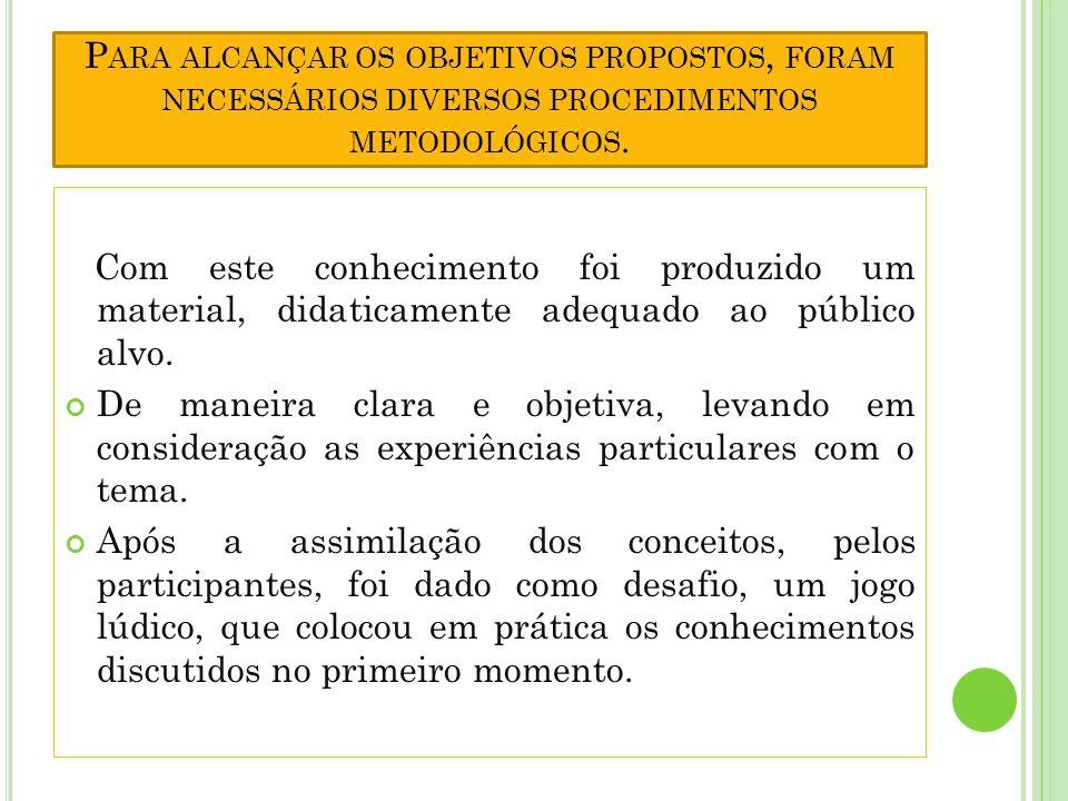 Para alcançar os objetivos propostos, foram necessários diversos procedimentos metodológicos.