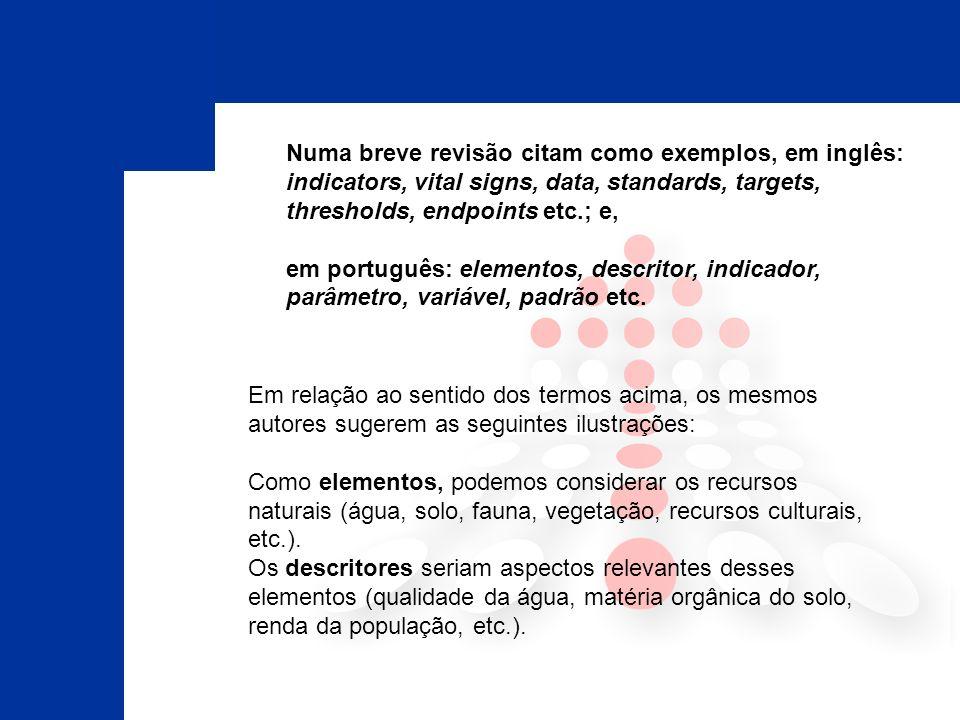 Numa breve revisão citam como exemplos, em inglês: indicators, vital signs, data, standards, targets, thresholds, endpoints etc.; e,