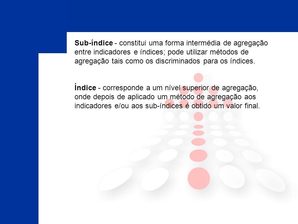 Sub-índice - constitui uma forma intermédia de agregação entre indicadores e índices; pode utilizar métodos de agregação tais como os discriminados para os índices.